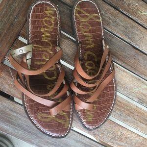 Sam Edelman Sandals  Flat  Slide Brown Leather 9.5